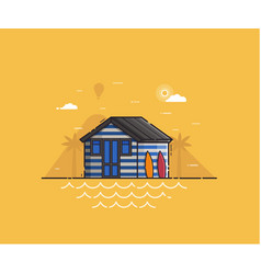 Beach hut house at seaside background vector