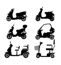 Black silhouette of scooter on white background vector
