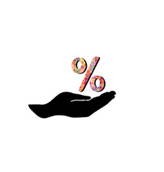 Percentage sign in hand silhouette sale percent vector
