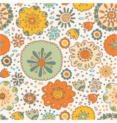 seamless color floral pattern on background vector image