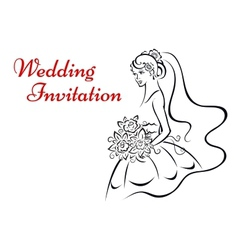 Younf bride in white dress vector image