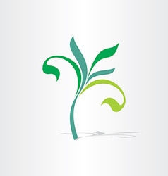 Green eco tree floral plant icon vector