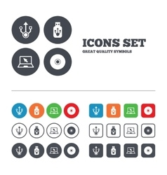 Usb flash drive icons notebook or laptop pc vector