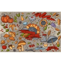 Big set of colored hand-drawn doodles on autumn vector