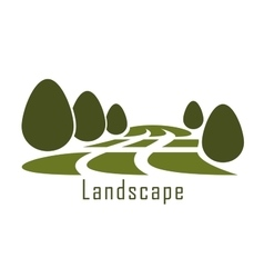 Park landscape icon with lawn and bushes vector