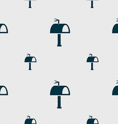 Mailbox icon sign seamless pattern with geometric vector