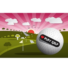Golf ball on field with sun and sky and hear vector