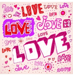 Love sketch doodles vector
