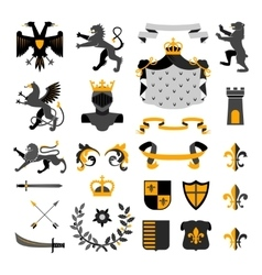 Heraldic symbols emblems collection black yellow vector