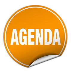 Agenda round orange sticker isolated on white vector