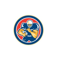 American Football Player Fend Off Circle Retro vector image vector image