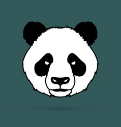Angry panda head cartoon fat panda face vector