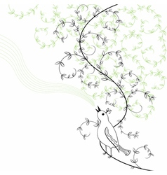 Bird sings in abstract bush vector