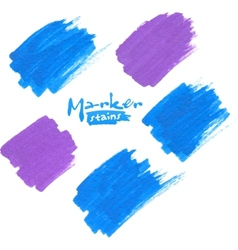Blue and purple marker stains vector image vector image