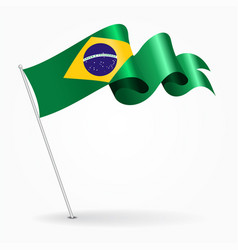 Brazilian pin wavy flag vector