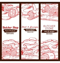 Butchery butcher shop meat sausages banners sketch vector