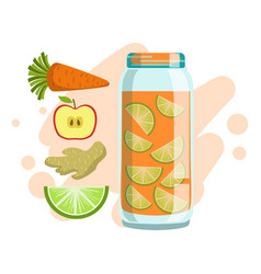 Carrot lime ginger and apple smoothie non vector