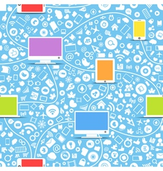 color modern gadgets and media icons vector image