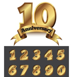 Decorative anniversary golden emblem vector image