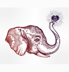 decorative profile elephant profile with heart vector image