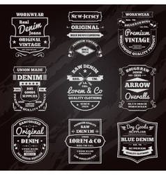 Denim typography chalkboard emblems set vector