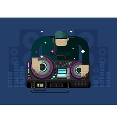 DJ character music vector image vector image