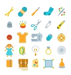 Handmade hobby activities flat icons vector