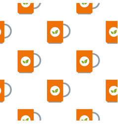 Mug of green tea pattern seamless vector
