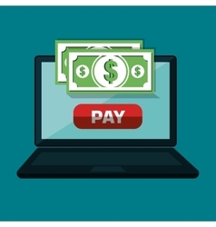 Pay and commerce on line with computer vector
