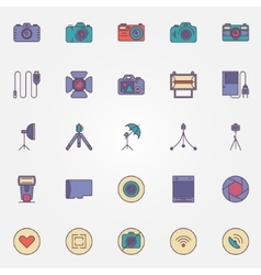Photography colorful icons vector