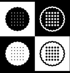Round biscuit sign black and white icons vector