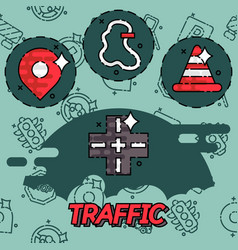 traffic flat concept icons vector image