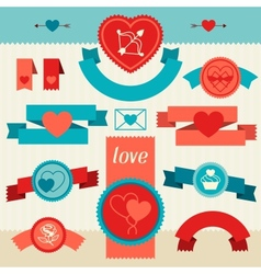 Valentines and wedding banners ribbons badges vector