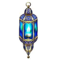 Vintage gold lantern with a blue glow vector