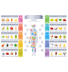 Vitamin rich food icons healthy eating vector