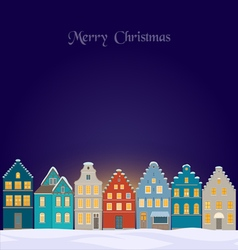 Winter background with old town at night vector image vector image