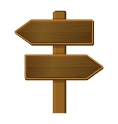 Wooden Arrow Sign Signpost on White Background vector image