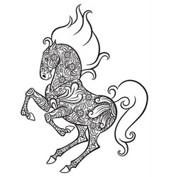Zentangle ornate horse vector