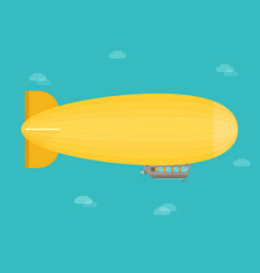 zeppelin airship dirigible balloon flight flat vector image vector image