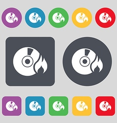 Cd icon sign a set of 12 colored buttons flat vector