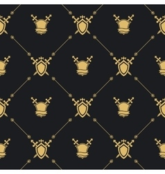 Sword and shield golden pattern vector