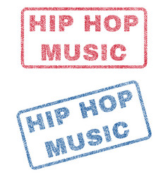 Hip hop music textile stamps vector