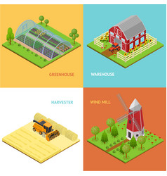 Farm banner card set isometric view vector