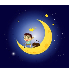 A boy and his pet at the moon vector image