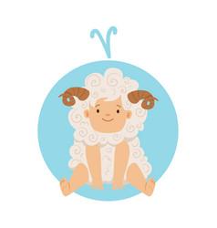 Cute little boy as aries astrological sign vector