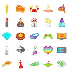 Weekend icons set cartoon style vector