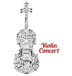 Creative violin concert poster design vector image