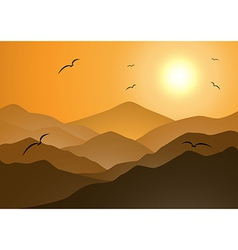 Evening mountains and sunset vector