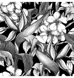 Monochrome seamless pattern with exotic flowers vector image