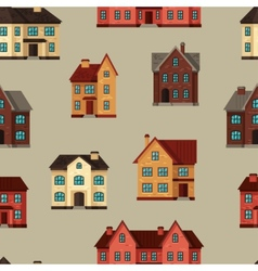 Town seamless pattern with cottages and houses vector